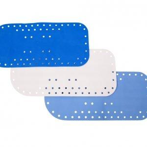 Anti-slip bad- en douchemat in de kleur blauw, lichtblauw en wit, merk Atlantis