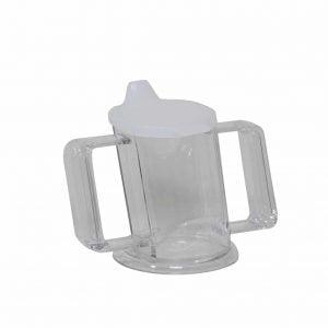 handycup met handvatten en oplopende rand in wit
