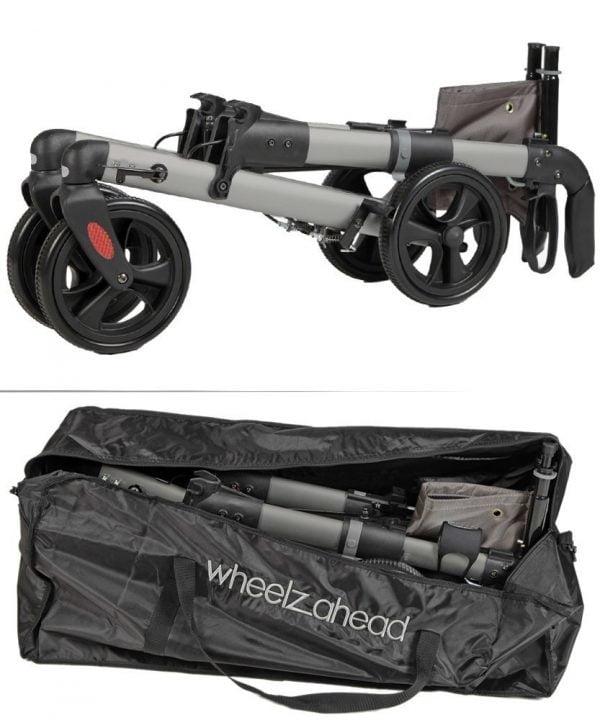 rollator Track 4.0 in de kleur antraciet merk Wheezahead inklapt met tas