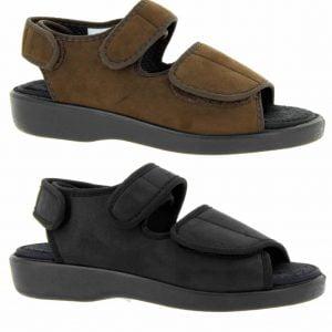 Varomed lugano verbandschoen in sandaal model kleuren zwart en bruin