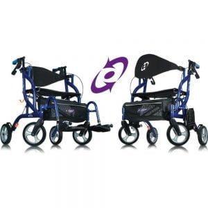 Airgo Fusion rollator en transportstoel in 1, dit is uitgebeeld als rolstoel en rollator