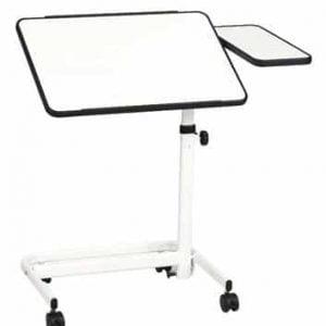 Bedleestafel in de kleur wit met wit onderstel en twee tafelbladen