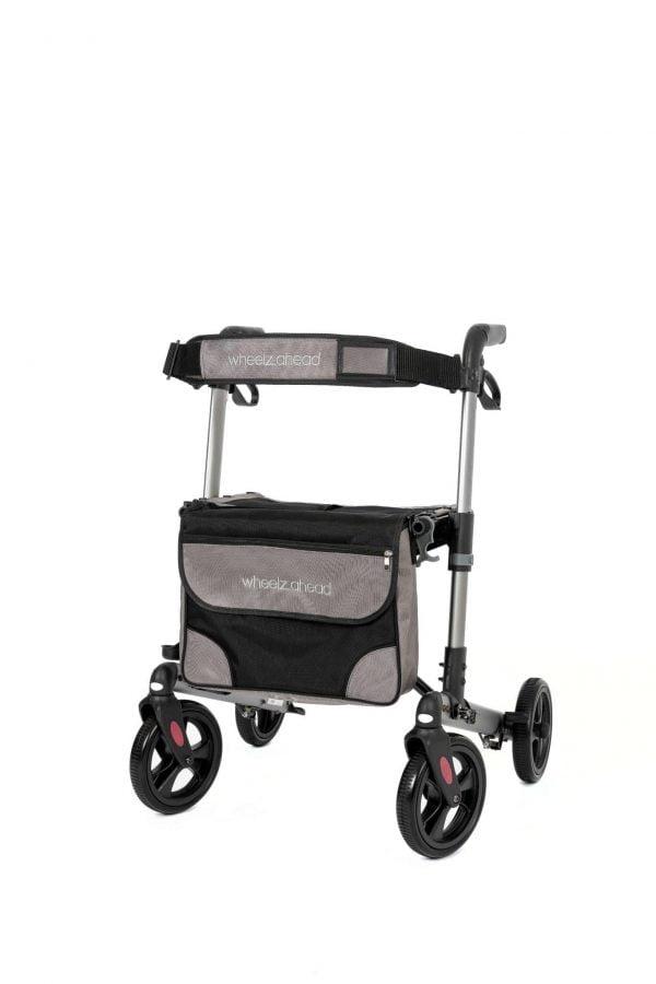 Track 4.0 merk wheelz-ahead lichtgewicht rollator dubbel inklapbaar kleur antraciet voorzijde