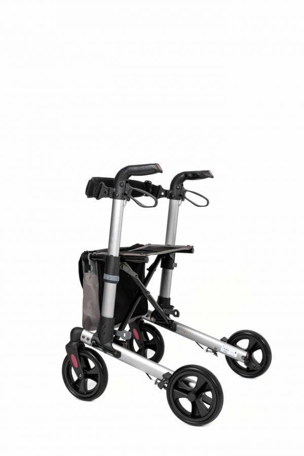 Track 4.0 merk wheelz-ahead lichtgewicht rollator dubbel inklapbaar kleur antraciet linker achterzijde