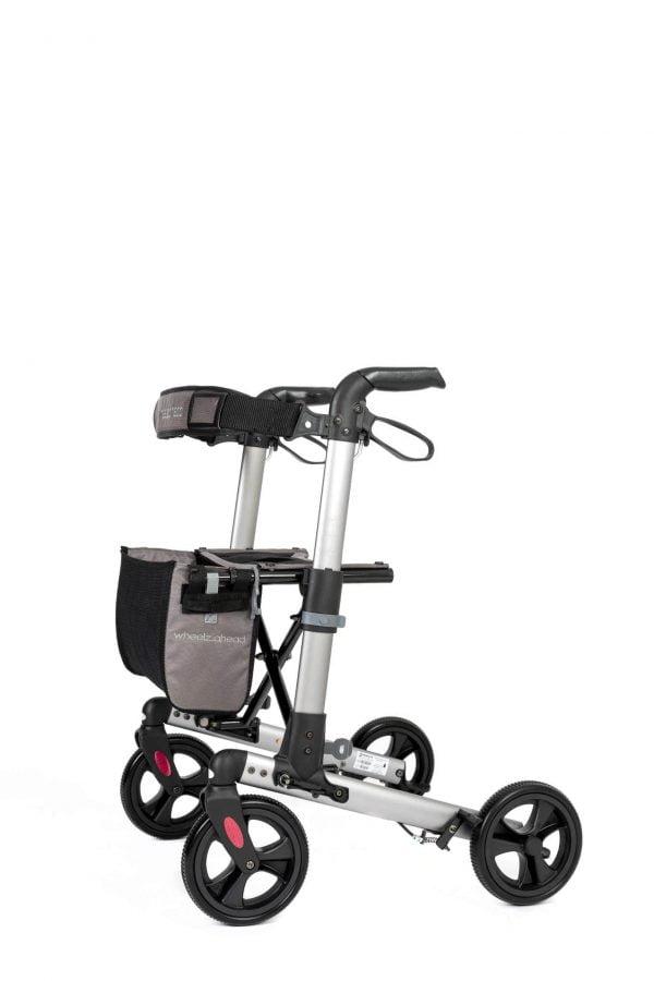 Track 4.0 merk wheelz-ahead lichtgewicht rollator dubbel inklapbaar kleur antraciet zijzijde