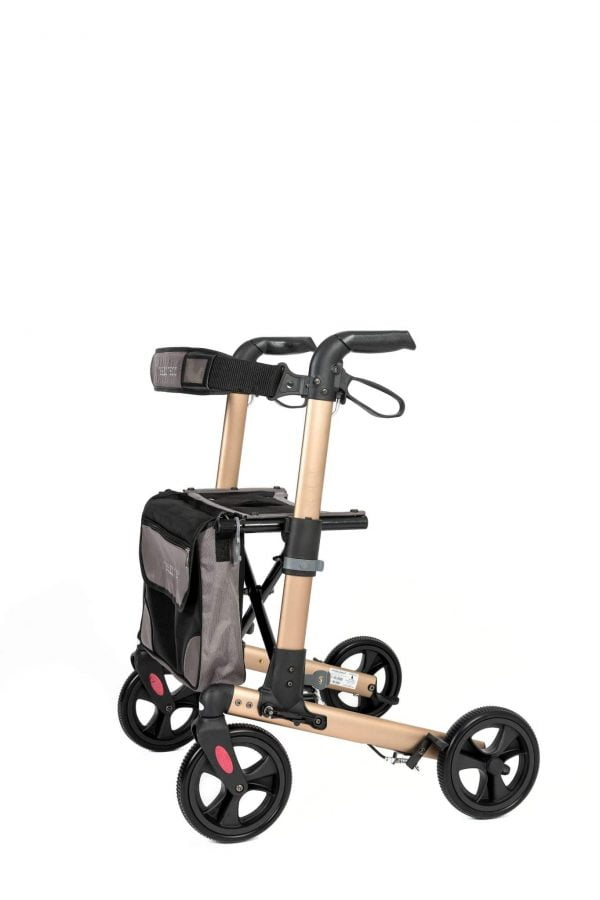 Track 4.0 merk wheelz-ahead lichtgewicht rollator dubbel inklapbaar kleur champagne dichte tas