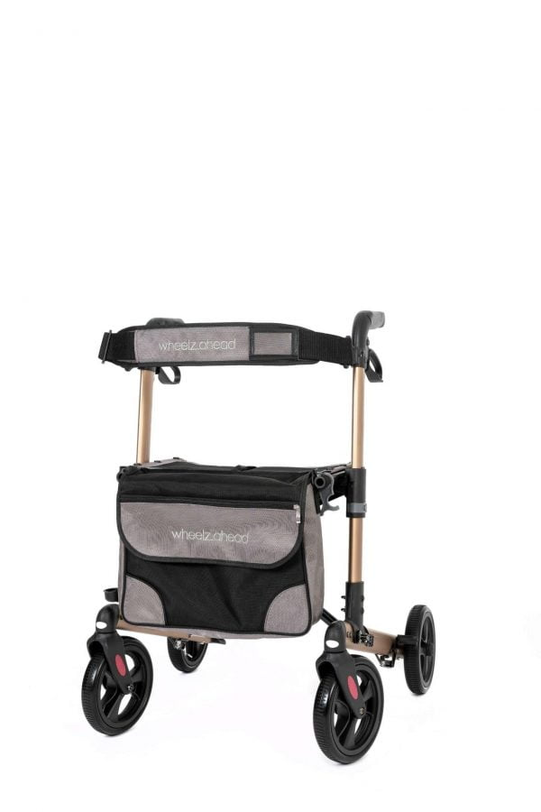 Track 4.0 merk wheelz-ahead lichtgewicht rollator dubbel inklapbaar kleur champagne voorkant