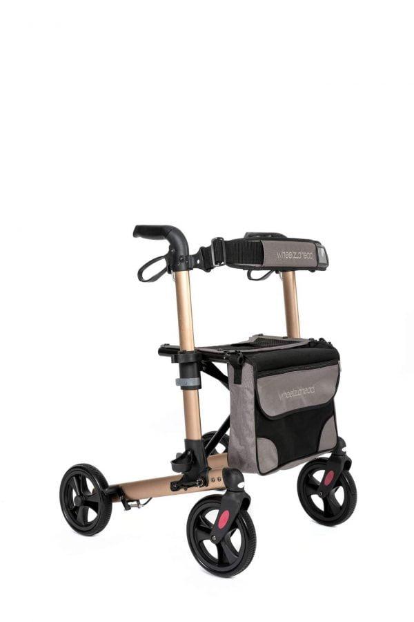 Track 4.0 merk wheelz-ahead lichtgewicht rollator dubbel inklapbaar kleur champagne voorzijde