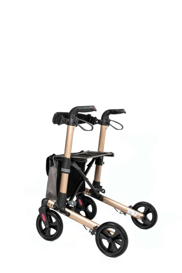 Track 4.0 merk wheelz-ahead lichtgewicht rollator dubbel inklapbaar kleur champagne achterzijde