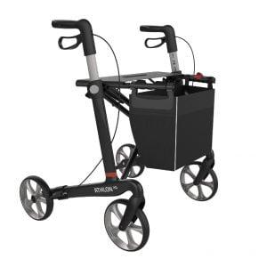 Rehasense rollator XL gemaakt van carbon en weegt slechts 6 kg en kan tot 200 kg gebruikersgewicht aan.